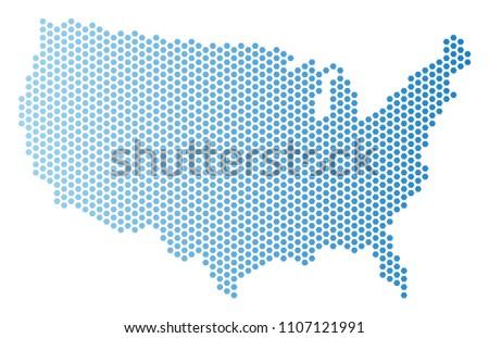 Hex Tile USA Map Vector Territorial Stock Vector (Royalty Free ...