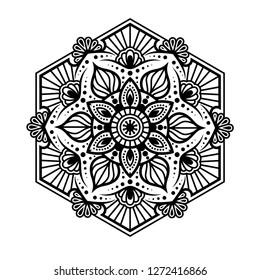 Hexa Mandala, decorative elements, Oriental pattern, vector illustration. Islam, Arabic, Indian, turkish, pakistan, chinese, ottoman motifs - Vector