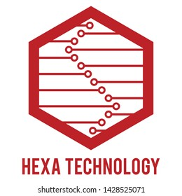 Hexa technology logo with red color