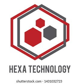 Hexa Technology logo with red and grey color