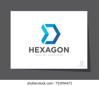hexagon arrow logo icon vector template