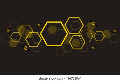 hexagon bee hive design background vector EPS10