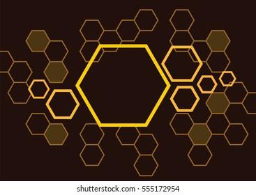 hexagon bee hive design background vector in brown