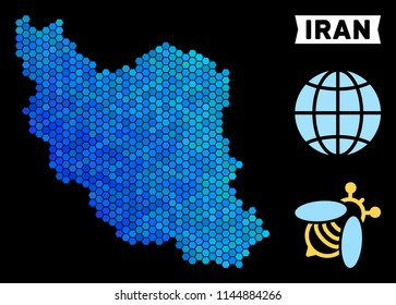 Hexagon Blue Iran map. Geographic map in blue color tones on a black background. Vector collage of Iran map made of hexagon pixels.