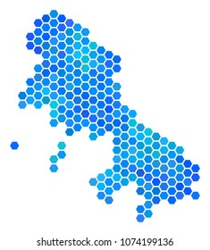 Hexagon Blue Skyros Greek Island Map. Vector geographic map in cold color tints on a white background. Blue vector collage of Skyros Greek Island Map designed of hexagon pixels.
