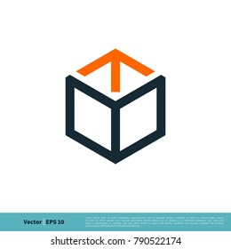Hexagon Box Line Art Arrow Icon Vector Logo Template Illustration Design. Vector EPS 10.