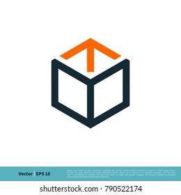 Hexagon Box Line Art Icon Vector Logo Template Illustration Design. Vector EPS 10.