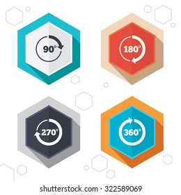 Hexagon buttons. Angle 45-360 degrees circle icons. Geometry math signs symbols. Full complete rotation arrow. Labels with shadow. Vector