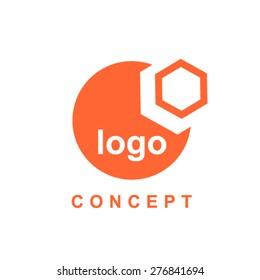 Hexagon and circle abstract logo concept