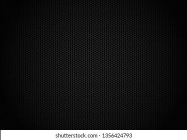 Hexagon dark background. Black honeycomb abstract metal grid pattern technology wallpaper.