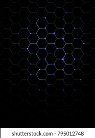 hexagon dark blue pattern with dark background, vector,