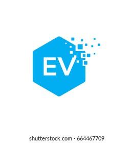 Hexagon EV Initial Logo designs with pixel texture Vector illustration