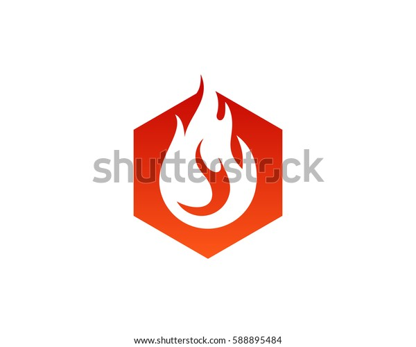Hexagon Fire Logo Design Element