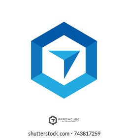 hexagon forward box arrow, abstract polygon logo template. logistic delivery courier transport service logo. minimal concept design. vector illustration