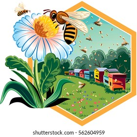 Hexagon frame with flowery scenery, hives, and worker bees on flowers.