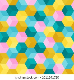 Hexagon grid seamless vector background. Technological polygons six corners geometric design. Trendy colors hexagon cells tile pattern for banner or cover. Honeycomb shapes mosaic backdrop.