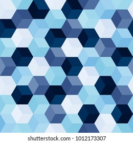 Hexagon grid seamless vector background. Colorful polygons with six corners geometric graphic design. Trendy colors polygonal hexagon pattern for banner or flyer. Honeycomb shapes mosaic backdrop.