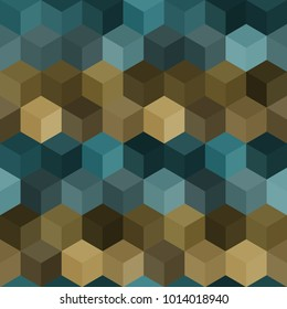 Hexagon grid seamless vector background. Multiple polygons with six corners geometric graphic design. Trendy colors hexagon tile pattern for banner or card. Honeycomb cubic shapes textile.
