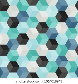 Hexagon grid seamless vector background. Bright polygons with six corners geometric graphic design. Trendy colors polygonal hexagon pattern for banner or card. Honeycomb cube shapes mosaic.