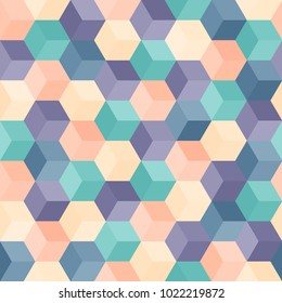 Hexagon grid seamless vector background. Childish polygons with six corners geometric graphic design. Trendy colors hexagon pattern for banner or cover. Hexagonal shapes modern backdrop.