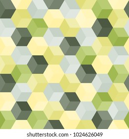 Hexagon grid seamless vector background.  Stylized polygons with six corners geometric graphic design.  Trendy colors hexagon cells tile pattern for banner or card.  Hexagonal shapes modern backdrop.