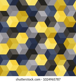 Hexagon grid seamless vector background. Cool polygons with six corners geometric graphic design. Trendy colors hexagon cells pattern for banner or cover. Honeycomb cube shapes mosaic.