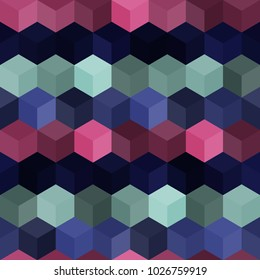 Hexagon grid seamless vector background. Colorful polygons with six corners geometric graphic design. Trendy colors hexagon tile pattern for banner or card. Honeycomb shapes modern backdrop.