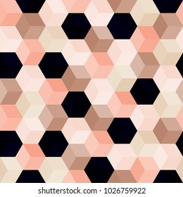Hexagon grid seamless vector background. Multiple polygons with six corners geometric graphic design. Trendy colors hexagon tile pattern for banner or card. Honeycomb shapes mosaic backdrop.