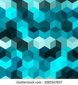 Hexagon grid seamless vector background. Childish polygons six corners geometric design. Trendy colors hexagon cells pattern for game ui. Honeycomb cube shapes mosaic.