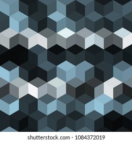 Hexagon grid seamless vector background. Childish polygons six corners geometric design. Trendy colors hexagon cells pattern for game ui. Hexagonal shapes modern backdrop.