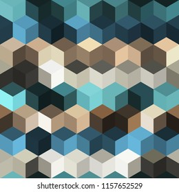 Hexagon grid seamless vector background. Colorful polygons corners geometric design. Trendy colors hexagon cells pattern for banner or cover. Honeycomb shapes mosaic backdrop.