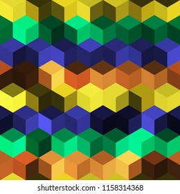 Hexagon grid seamless vector background. Minimal polygons with bauhaus corners geometric graphic design. Trendy colors hexagon cells pattern for flyer or cover. Honeycomb shapes mosaic backdrop.