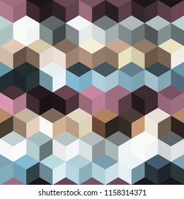 Hexagon grid seamless vector background. Minimal polygons with bauhaus corners geometric graphic design. Trendy colors hexagon cells pattern for flyer or cover. Hexagonal shapes modern backdrop.