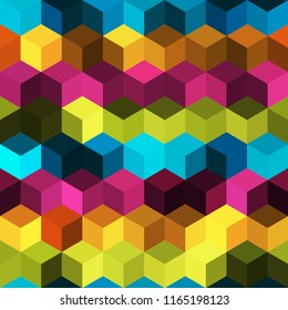 Hexagon grid seamless vector background. Cool polygons with bauhaus corners geometric graphic design. Trendy colors hexagon cells pattern for banner or cover. Hexagonal shapes modern backdrop.