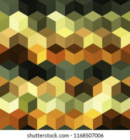 Hexagon grid seamless vector background. Stylized polygons bauhaus corners geometric design. Trendy colors hexagon cells pattern for flyer or cover. Hexagonal shapes modern backdrop.
