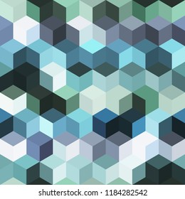 Hexagon grid seamless vector background. Minimal polygons with bauhaus corners geometric graphic design. Trendy colors hexagon cells pattern for card or cover. Hexagonal shapes modern backdrop.