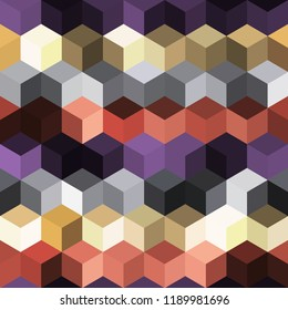 Hexagon grid seamless vector background. Technological polygons bauhaus corners geometric design. Trendy colors hexagon cells pattern for game background. Honeycomb shapes mosaic backdrop.