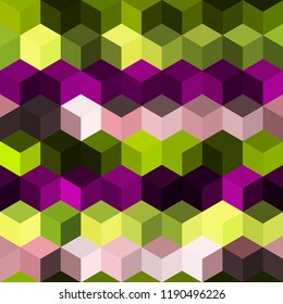 Hexagon grid seamless vector background. Cool polygons with bauhaus corners geometric graphic design. Trendy colors hexagon cells pattern for game ui. Honeycomb shapes mosaic backdrop.