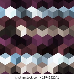 Hexagon grid seamless vector background. Minimal polygons bauhaus corners geometric design. Trendy colors hexagon cells pattern for banner or cover. Honeycomb cube shapes mosaic.