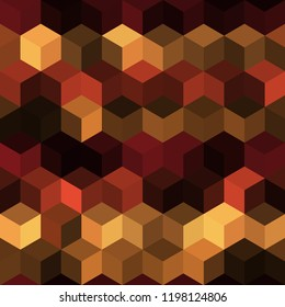 Hexagon grid seamless vector background. Stylized polygons bauhaus corners geometric design. Trendy colors hexagon cells pattern for banner or cover. Honeycomb shapes mosaic backdrop.