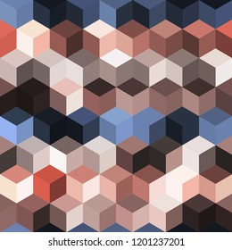 Hexagon grid seamless vector background. Colorful polygons bauhaus corners geometric design. Trendy colors hexagon cells pattern for game background. Hexagonal shapes modern backdrop.