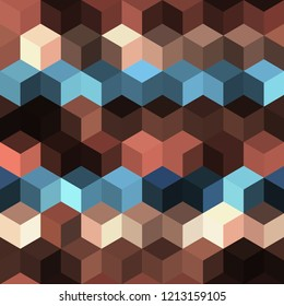 Hexagon grid seamless vector background. Colorful polygons bauhaus corners geometric design. Trendy colors hexagon cells pattern for game ui. Hexagonal shapes modern backdrop.
