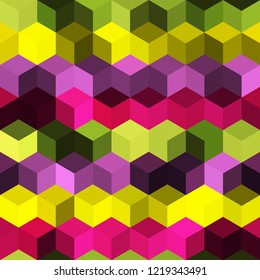 Hexagon grid seamless vector background. Childish polygons bauhaus corners geometric design. Trendy colors hexagon cells pattern for flyer or cover. Honeycomb shapes mosaic backdrop.