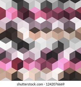 Hexagon grid seamless vector background. Cool polygons with bauhaus corners geometric graphic design. Trendy colors hexagon cells pattern for banner or cover. Honeycomb shapes mosaic backdrop.