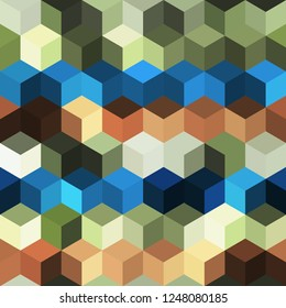 Hexagon grid seamless vector background. Minimal polygons with bauhaus corners geometric graphic design. Trendy colors hexagon cells pattern for card or cover. Honeycomb cube shapes mosaic.
