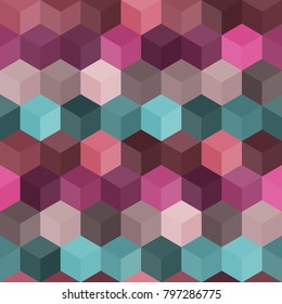 Hexagon grid seamless vector background. Abstract polygons with six corners geometric graphic design. Trendy colors hexagon cells pattern for banner or card. Honeycomb cube shapes mosaic.