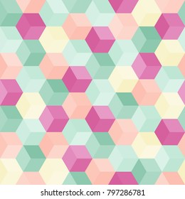 Hexagon grid seamless vector background. Minimal polygons with six corners geometric graphic design. Trendy colors polygonal figures pattern for banner or cover. Honeycomb cubic shapes textile.