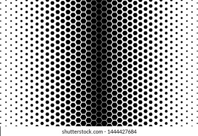 Hexagon halftone pattern. Abstract geometric shapes background.