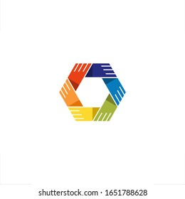 Hexagon hand hold together logo