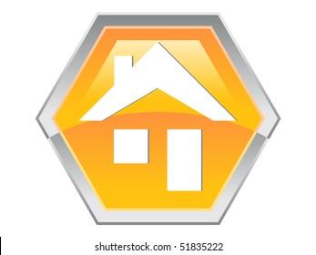 Hexagon House Design Button Icon